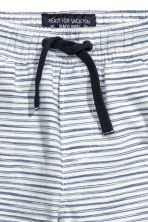 鬆緊帶短褲 - White/Dark blue/Striped -  | H&M 3