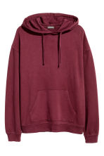 Washed hooded top - Burgundy - Men | H&M 2