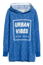 Fine-knit hooded top - Cornflower blue -  | H&M 2