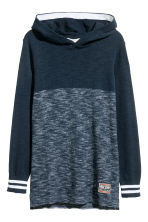 Fine-knit hooded top - Dark blue marl - Kids | H&M CN 2