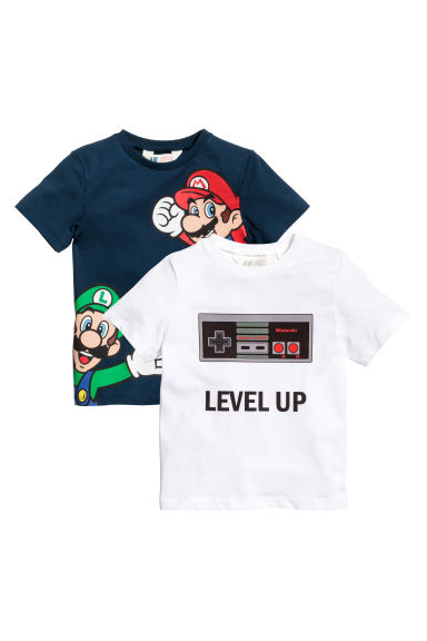 T-shirt, 2 pz - Blu scuro/Super Mario - BAMBINO | H&M IT 1