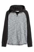 Jersey hooded top - Black/Narrow striped - Kids | H&M CN 2