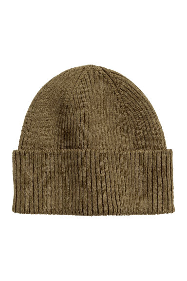 Rib-knit hat - Khaki green - Men | H&M CN 1