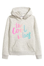 Hooded top with a text motif - Light grey marl - Kids | H&M CN 2