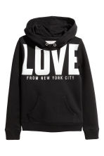 Hooded top with a text motif - Black/New York -  | H&M 2