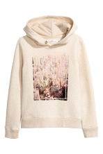 Hooded top with a text motif - Light beige -  | H&M CN 2