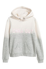 Hooded top with a text motif - Natural white/Grey -  | H&M CA 2