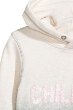 Hooded top with a text motif - Natural white/Grey -  | H&M CA 3