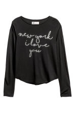 Long-sleeved top - Black -  | H&M 2