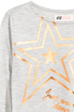 Long-sleeved top - Light grey/Star -  | H&M 3