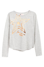 Long-sleeved top - Light grey/Star -  | H&M 2