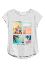 Printed jersey top - Light grey marl - Kids | H&M 2