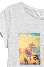 Printed jersey top - Light grey marl - Kids | H&M 3