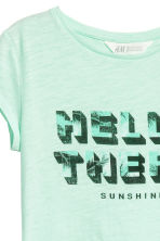 Printed jersey top - Mint green - Kids | H&M CN 3