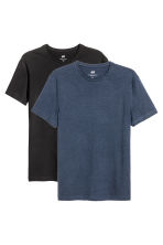 T-shirt Slim fit, 2 pz - Nero/blu scuro - UOMO | H&M IT 1