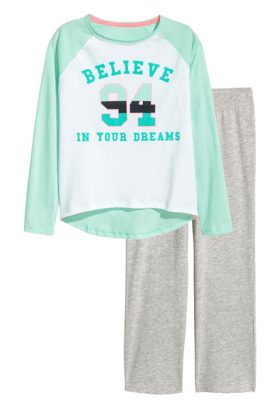 Jersey pyjamas - Mint green/White - Kids | H&M CN 1