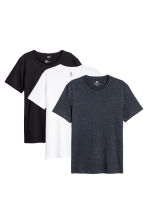 3-pack T-shirts Regular fit - Black/White/Blue - Men | H&M 1
