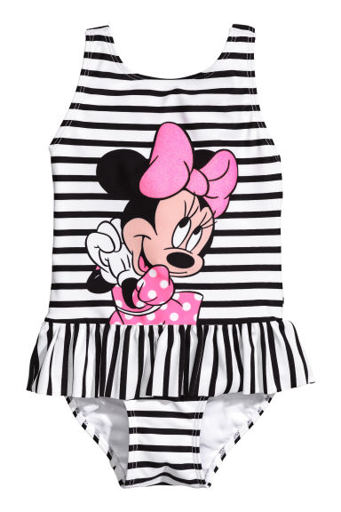 Swimsuit with a frill - White/Minnie Mouse - Kids | H&M CN 1