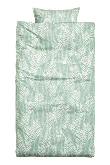 Leaf-patterned duvet cover set