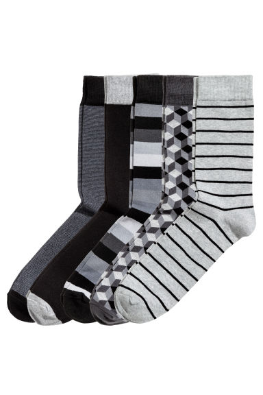 5-pack socks - Black/Striped - Men | H&M CN 1