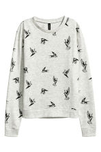 Printed sweatshirt - 浅灰色/燕子 - Ladies | H&M CN 2