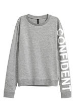 Printed sweatshirt - Grey marl - Ladies | H&M CN 2