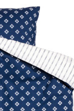 Patterned duvet cover set - White/Dark blue - Home All | H&M CN 3