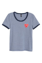 Cotton jersey T-shirt - Dark blue/Striped - Ladies | H&M CN 2