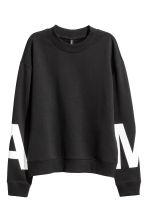 Sweatshirt with side slits - Black - Ladies | H&M GB 2