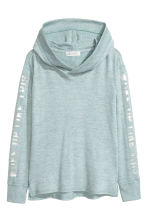 Hooded top with a print motif - Mint green marl -  | H&M CN 2