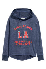 Hooded top with a print motif - Dark blue/Los Angeles - Kids | H&M CN 2