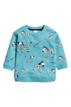 Sweatshirt with a motif - Turquoise -  | H&M 1