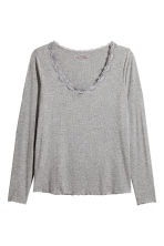 H&M+ Ribbed top - Grey marl - Ladies | H&M CN 2