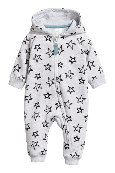 Sweatshirt all-in-one suit - Light grey/Stars -  | H&M
