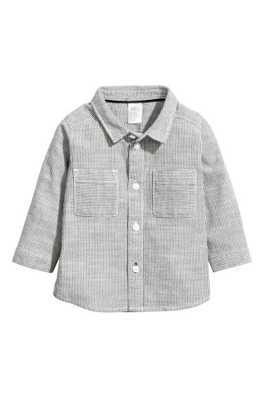 Cotton shirt - White/Dark grey striped -  | H&M 1