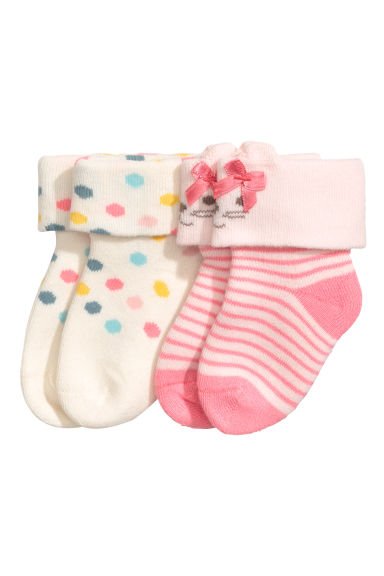 2-pack terry socks - White/Spotted - Kids | H&M CN