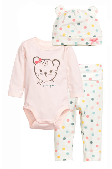 Bodysuit with trousers and hat - White/Spotted - Kids | H&M CN 1