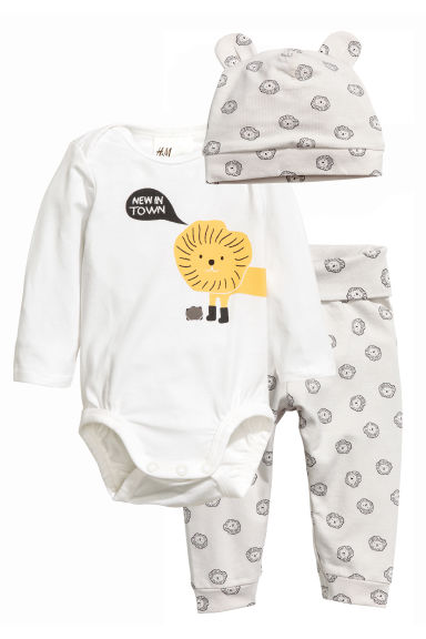 Body, pantalon et bonnet - Blanc/lion - ENFANT | H&M FR 1