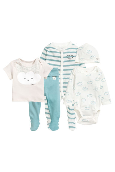 5-piece jersey set - White/Cloud - Kids | H&M 1