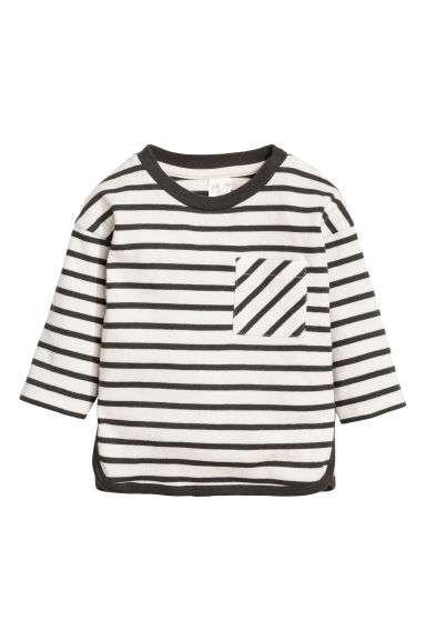 Cotton top - Dark grey/Striped -  | H&M CN 1