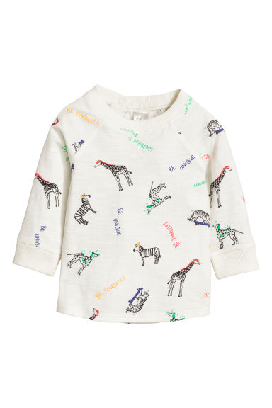 Long-sleeved T-shirt - White/Animal - Kids | H&M