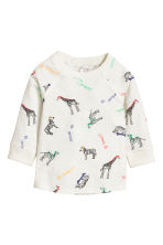 Long-sleeved T-shirt - White/Animal -  | H&M 1