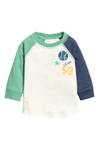 Long-sleeved T-shirt - Natural white/Green - Kids | H&M 1