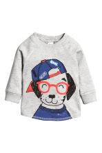 Long-sleeved T-shirt - Light grey marl - Kids | H&M CN 1