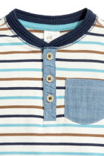 Henley shirt - Natural white/Striped -  | H&M CN 2