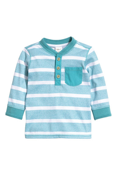 Henley shirt - Turquoise/Striped -  | H&M CN 1