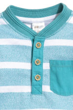 Henley shirt - Turquoise/Striped -  | H&M 2