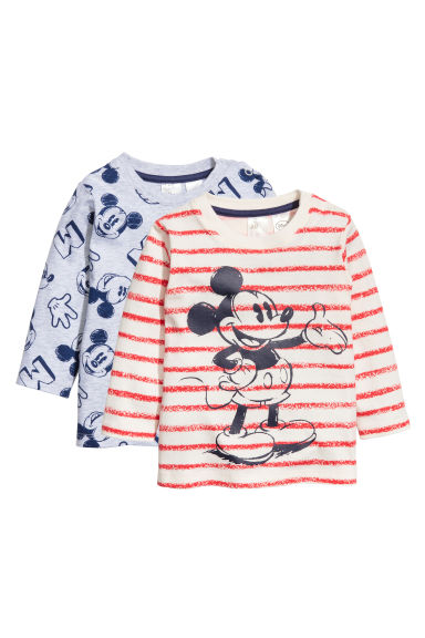 2-pack long-sleeved T-shirts - Light grey/Mickey Mouse - Kids | H&M 1