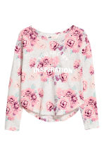 Printed top - Light grey/Roses -  | H&M 2