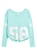 Printed top - Light turquoise -  | H&M 2